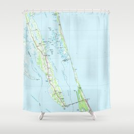 Northern Outer Banks North Carolina Map (1985) Shower Curtain