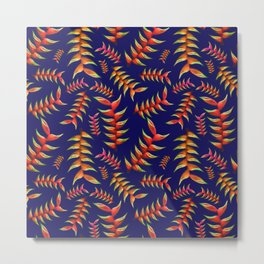 Blue and Orange Heliconia Print Metal Print