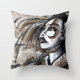 Geisha in Steam: The Hopefull Concubine Throw Pillow