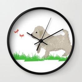 Cockapoo dog art cream Wall Clock
