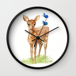 Woodland Baby Deer Wall Clock