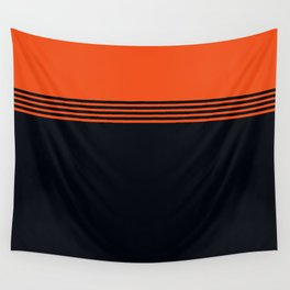 70s Orange Retro Striped Pattern Wall Tapestry