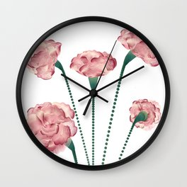 Line Carnations 1 Wall Clock