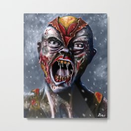 Zipper Head Zombie Metal Print