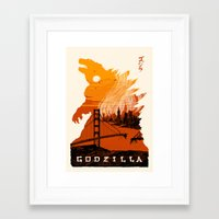 godzilla Framed Art Prints featuring Godzilla  by tim weakland