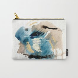 You are an Ocean - abstract India Ink & Acrylic in blue, gray, brown, black and white Carry-All Pouch
