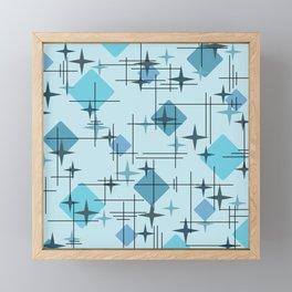 MidCentury Modern Pattern Blue Framed Mini Art Print