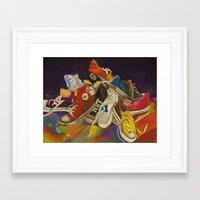 sneakers Framed Art Prints featuring Sneakers by Jocelyn Mendoza
