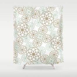 Green & Brown Floral Pattern Shower Curtain
