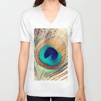 peacock feather V-neck T-shirts featuring Peacock Feather  by Laura Ruth