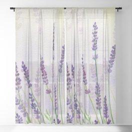 Lavender Flowers Watercolor Sheer Curtain