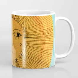 Sun Drawing - Gold and Blue Coffee Mug