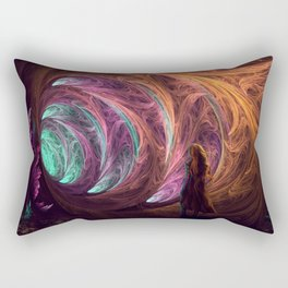 Towards The Light - Alice in Wonderland - White Rabbit - Fractal Rectangular Pillow