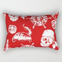 Red Pirate Pattern Rectangular Pillow