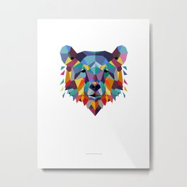 Bear Color Geometric Metal Print