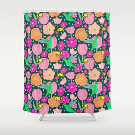 Hummingbirds and Bees Spring Pollinator Floral Shower Curtain