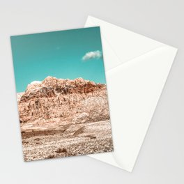 Vintage Red Rock Face // Desert Mountain in Winter Las Vegas Landscape Photograph Teal Sky Stationery Cards