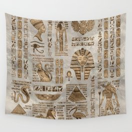 Egyptian hieroglyphs and deities -Vintage Gold Wall Tapestry