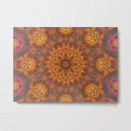 mandala 3 orange #mandala #orange Metal Print
