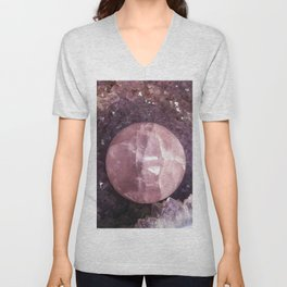 Amethyst and Pink Quartz Gemstone Unisex V-Neck