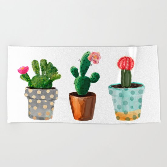 Three Cacti With Flowers On White Background Beach Towel