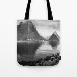 Milford Sound Panorama in black and white Tote Bag