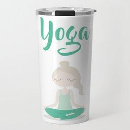 Young Yoga Lady sitting in Lotus Position - International Yoga Day Travel Mug