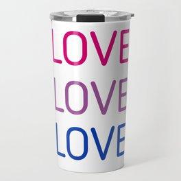 LOVE LOVE LOVE - Bisexual pride flag colors Travel Mug