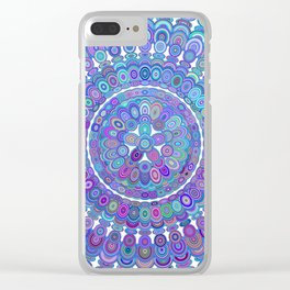 Colorful Happy Floral Mandala Clear iPhone Case
