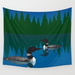 Loons in a Woodland Lake Wall Tapestry