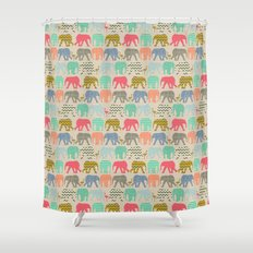 baby elephants and flamingos linen Shower Curtain