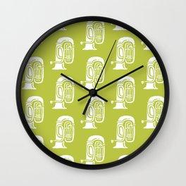 Tuba Pattern Chartreuse Green Wall Clock