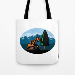 Forestry Mulcher Tearing Tree Oval Retro Tote Bag