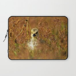 Baby Canada Goose Among The Wild Flowers Laptop Sleeve