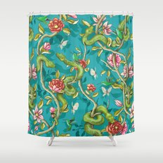 Morning Song - turquoise Shower Curtain