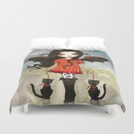Child of Halloween Cute Gothic Vampire Child and Black Cats Illustration Duvet Cover