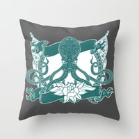 kraken Throw Pillows featuring KRAKEN by Norm Morales Originals