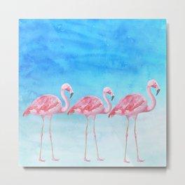 Flamingo Bird Summer Lagune - Watercolor Illustration Metal Print