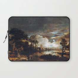 Aert van der Neer Moonlit Landscape with a View of the New Amstel River and Castle Kostverloren Laptop Sleeve