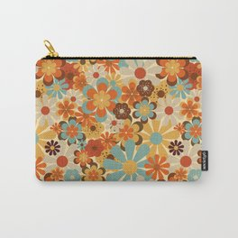 70's Retro Floral Patterned Prints Carry-All Pouch