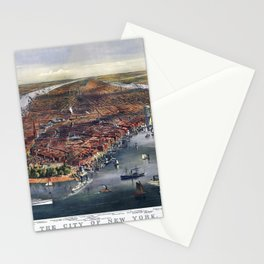 Gang of new york city old map Father Day art print poster Stationery Cards