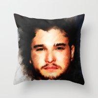 john snow Throw Pillows featuring Kit Harrington aka John Snow by André Joseph Martin