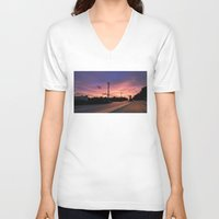 miami V-neck T-shirts featuring Miami Sunrise by Sookie Endo