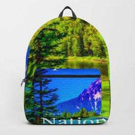Grand Teton National Park Vintage Poster Print Backpack