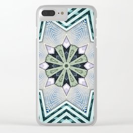 Symmetry In Turquoise Clear iPhone Case