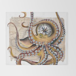 Octopus and Compass Collage Map Throw Blanket