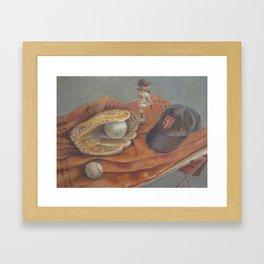 Still life with Giants memorabilia Framed Art Print
