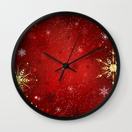 Red Background with Gold Snowflakes Wall Clock