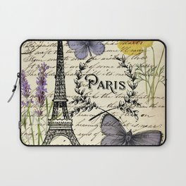 french botanical print purple butterfly lavender floral paris eiffel tower Laptop Sleeve