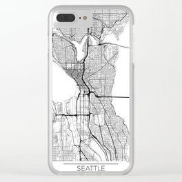 Seattle Map White Clear iPhone Case